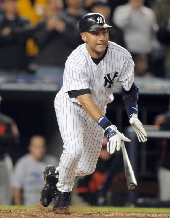 Derek Jeter picks up the hit, which unsuprisingly went to right field where he ussually hits the ball with his inside out swing.